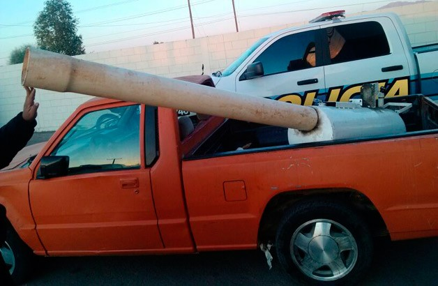Mexican drug cannon in pickup bed