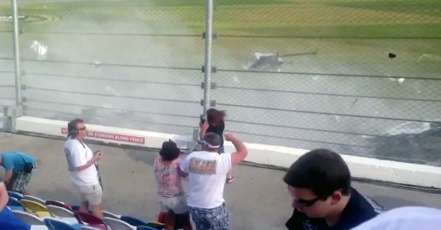 Kyle Larson's NASCAR Daytona crash scatters debris into stands - video screencap