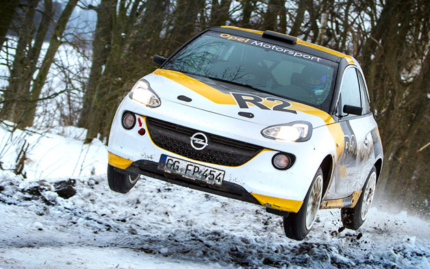 Opel Adam Rally Car - jumping in the snow
