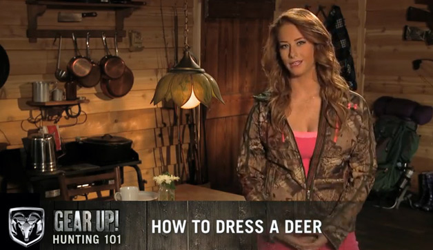 Gear Up! Hunting 101 series from Ram Pickups - host Megan teaches you how to process a deer - video screencap