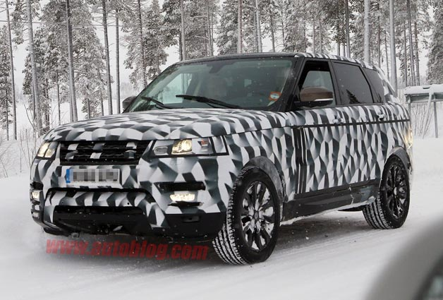 Next Land Rover Range Rover Sport undergoing winter testing - front three-quarter view, camouflaged