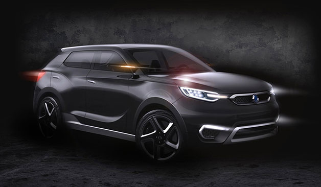 Ssangyong SIV-1 crossover concept rendering - front three-quarter view