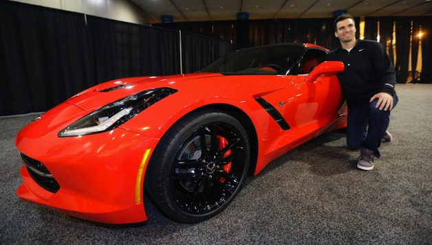 Super Bowl MVP Joe Flacco and his 2014 Chevrolet Corvette prize