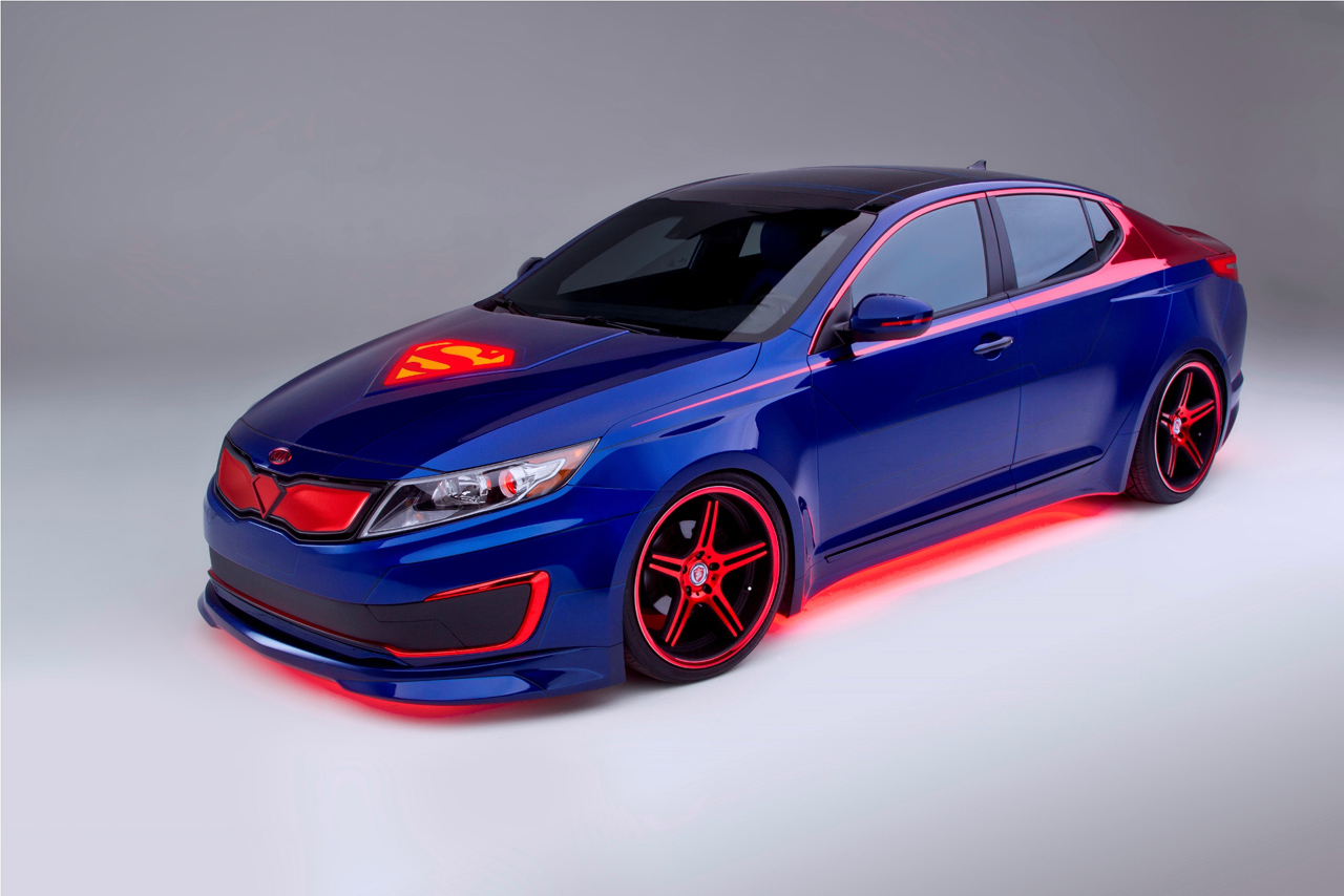 superman themed kia optima hybrid definitely not faster. Black Bedroom Furniture Sets. Home Design Ideas