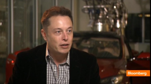 Tesla CEO Elon Musk being interviewed by Bloomberg TV - screencap