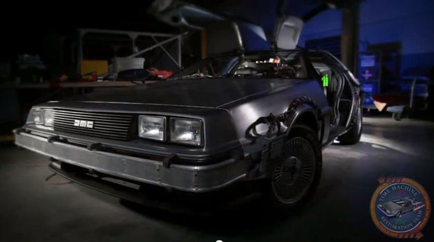 TIme Machine Restoration Delorean DMC-12 - front three-quarter view - video screencap
