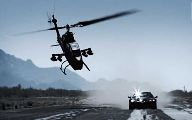 Top Gear Korea helicopter vs. ZR1 screencap (before crash)
