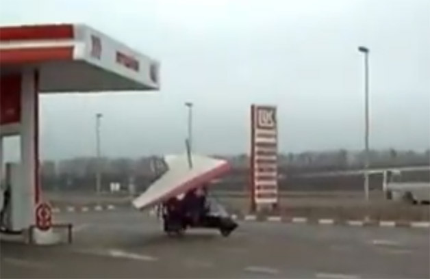 Ultralight at a fuel station