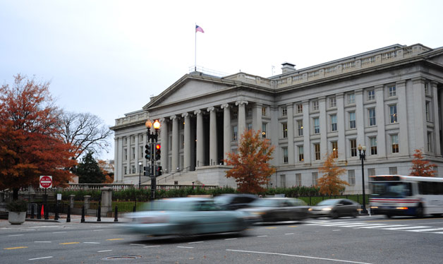 US Treasury Building with traffic