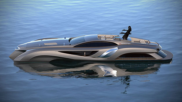 Gray Designs' Xhibitionist yacht - profile rendering