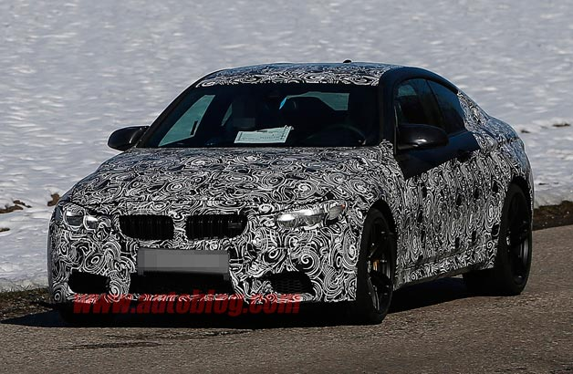 BMW M4 spy shots - front three-quarter view, disguised