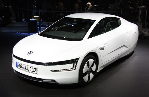 Volkswagen XL1 front three-quarter view at Geneva Motor Show reveal
