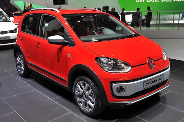 Volkswagen Cross Up! revealed at 2013 Geneva Motor Show - front three-quarter view, red