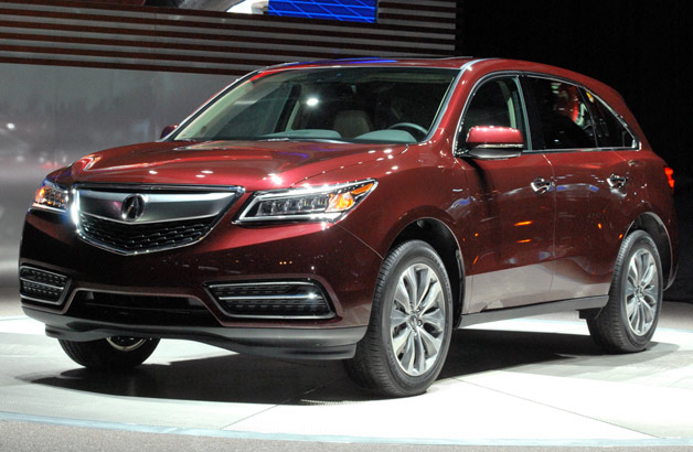 2014 Acura MDX in maroon live from the New York Auto Show
