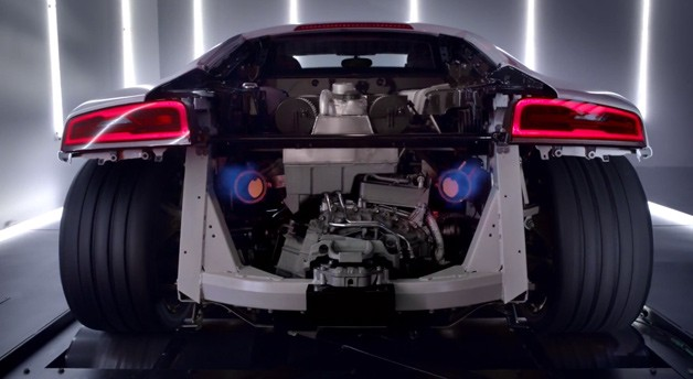 2014 Audi R8 V10 Plus on a dyno with rear panelwork removed