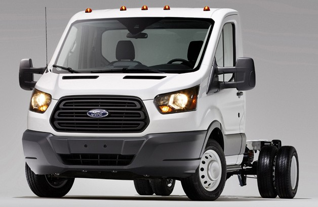 2014 Ford Transit cutaway cab - front three-quarter view, white
