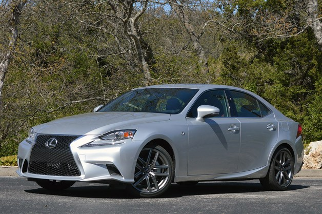 2014 Lexus IS350 F-Sport - front three-quarter view with trees
