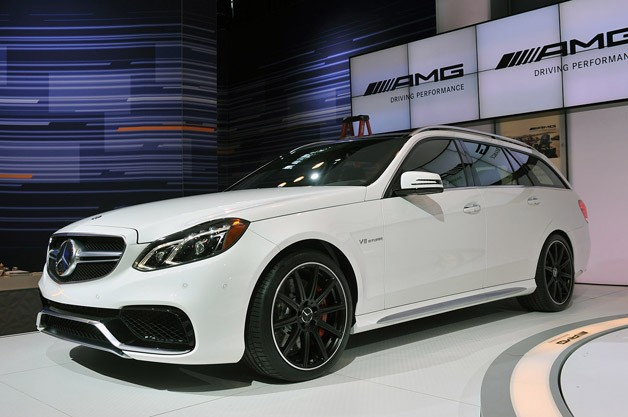 2014 Mercedes-Benz E63 AMG S Wagon - white - front three-quarter view live at 2013 New York Auto Show