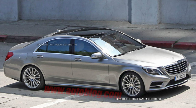 2014 Mercedes-Benz S-Class caught totally undisguised - gray three-quarter front view