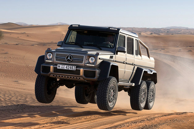 Mercedes-Benz AMG G63 6x6 catching air in the desert