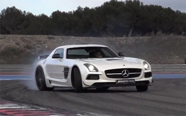 2014 Mercedes-Benz SLS AMG Black Series with Chris Harris drifting at the wheel - video screencap