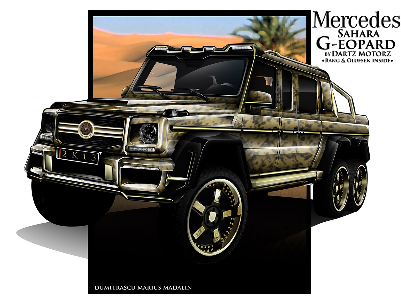 dartz promises own 6x6 g class with golden shishas and a dining room autoblog. Black Bedroom Furniture Sets. Home Design Ideas