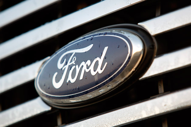 Ford emblem with water droplets