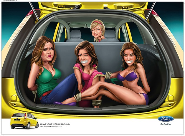 Ford Figo India cartoon ad with Paris Hilton driving bound and gagged Kardashian family in trunk
