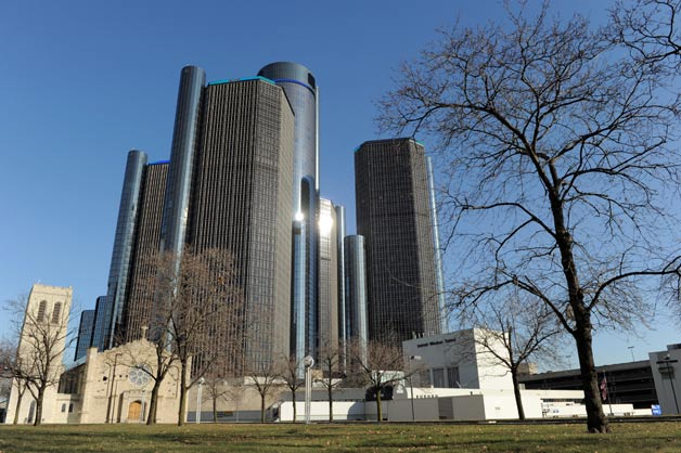 General Motors' Renaissance Center headquarters with trees