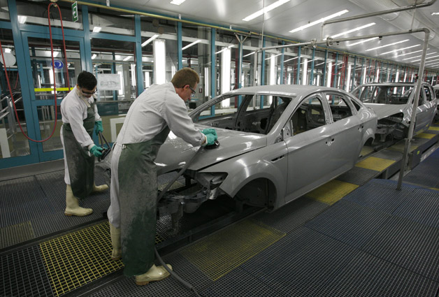 Workers at Ford's Genk facility in Belgium