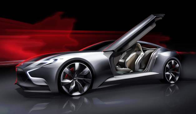 Hyundai HND-9 luxury coupe concept with door open - artist's rendering