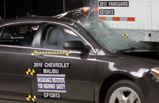 2010 Chevrolet Malibu in IIHS big rig underrider crash test - video screencap