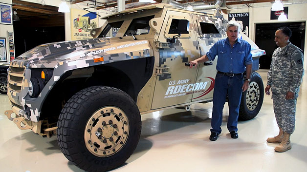 Jay Leno welcomes US Army FED prototype into his garage - video screencap
