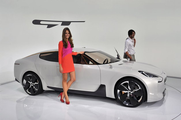 Kia GT Concept - front three-quarter view, live on auto show stand