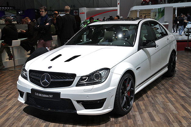 2014 Mercedes-Benz C63 AMG Edition 507 sedan - front three-quarter view, Geneva Motor Show reveal