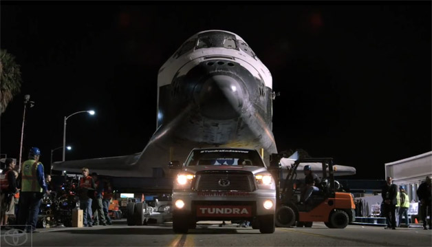 Toyota Tundra towing Space Shuttle Endeavour