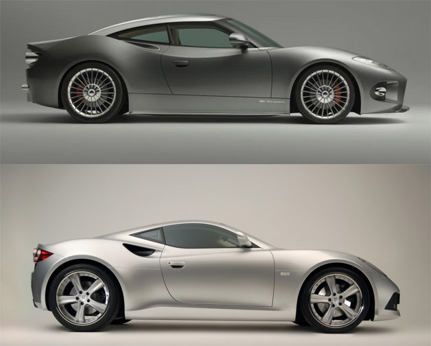 Spyker B6 Venator vs Artega GT - profiile views of both