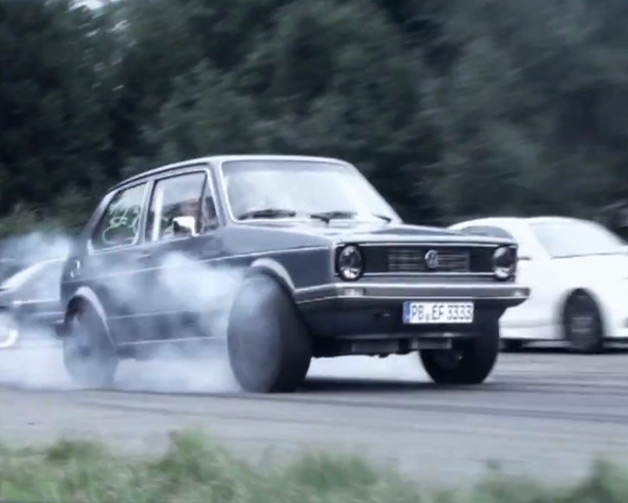 736-hp Volkswagen Mk1 Golf smoking its tires - video screencap