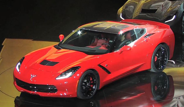 2014 Chevrolet Corvette Stingray - red overhead front three-quarter view