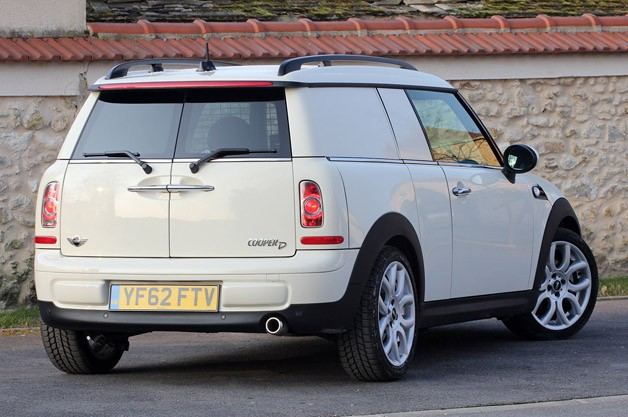 2014 Mini Cooper Clubvan rear 3/4 view