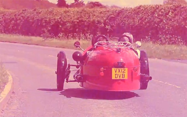 Morgan 3 Wheeler - rear view going down the road - video screencap