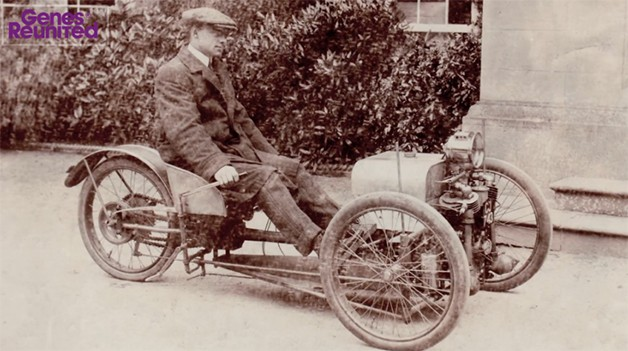 Harry F. S. Morgan sitting on the three-wheeler he invented in 1909 - video screencap