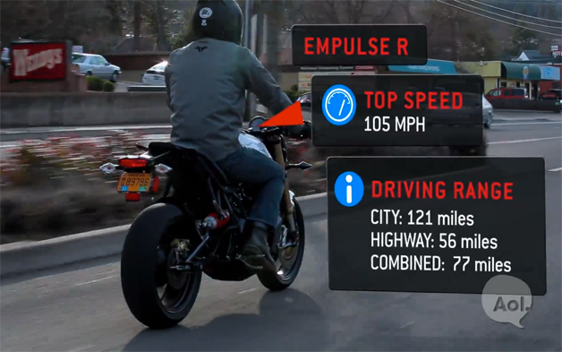 Brammo Empulse R electric motorcycle - rear three-quarter view with factoids