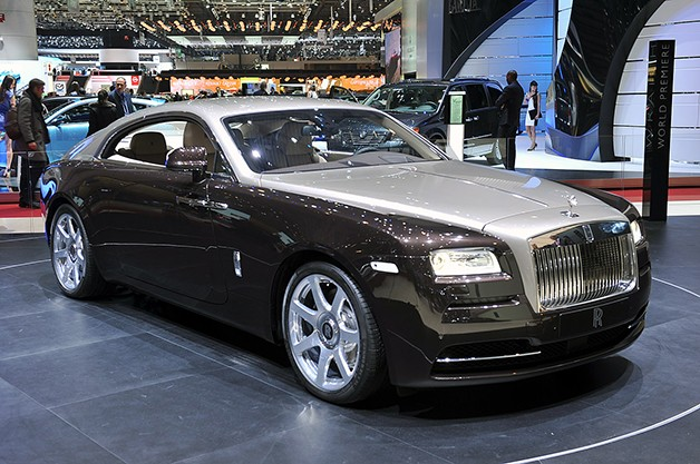 2014 rolls-royce wraith convertible - front three-quarter view on show display stand