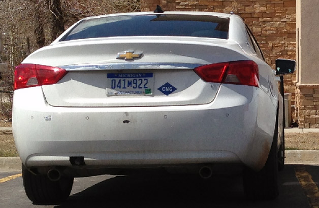 Chevrolet Impala prototype testing with CNG powertrain - rear view