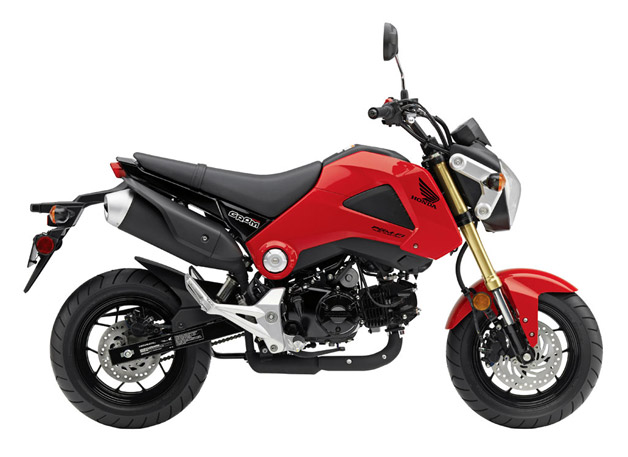 2014 Honda Grom motorcycle - profile view, red