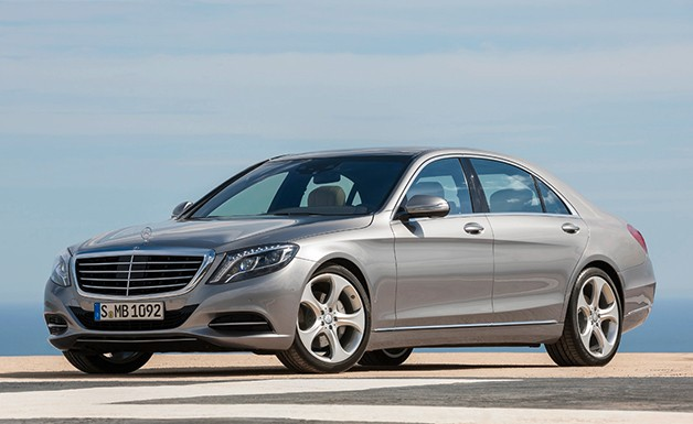 2014 Mercedes-Benz S-Class in silver - front three-quarter view