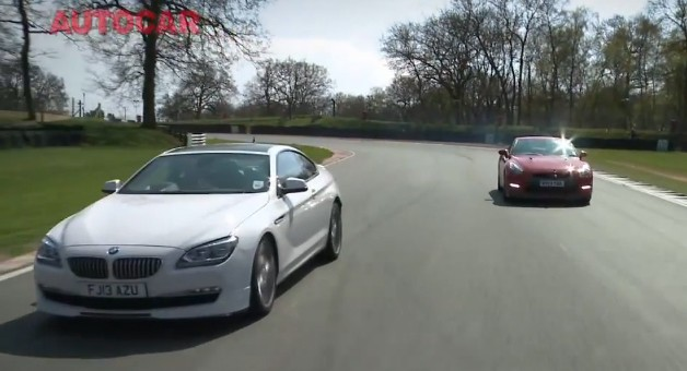 Alpina B6 vs. 2013 Nissan GT-R in Autocar track battle - video screencap