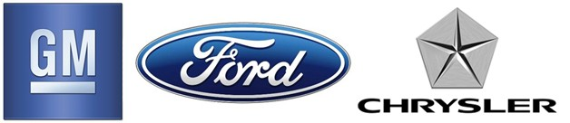 General Motors, Ford and Chrysler logos