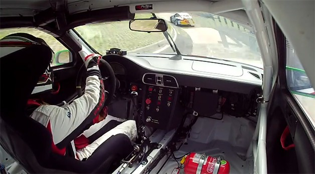 Connor de Phillippi drives the 'Ring in his Porsche 911 racecar - video screencap